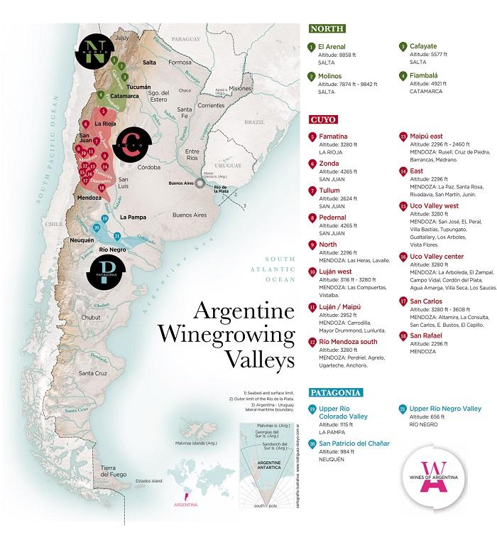 Las principales zonas vitivinícolas de Argentina son tres: Zona Noreste, Centro-Oeste y Patagónica o Zona Sur.