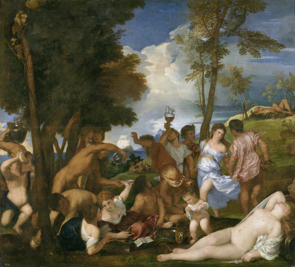 """El vino en """"La Bacanal"""" de Tiziano."""