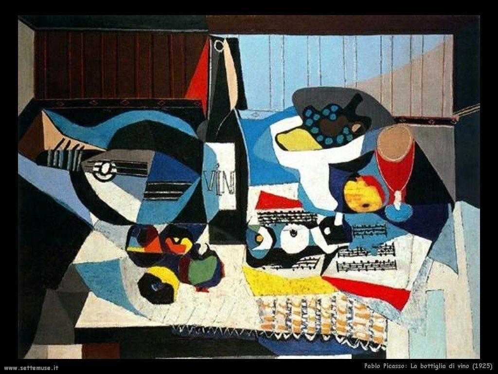 """Picasso sitúa """"la Botella de vino"""" justo en el centro de su cuadro con el mismo título."""
