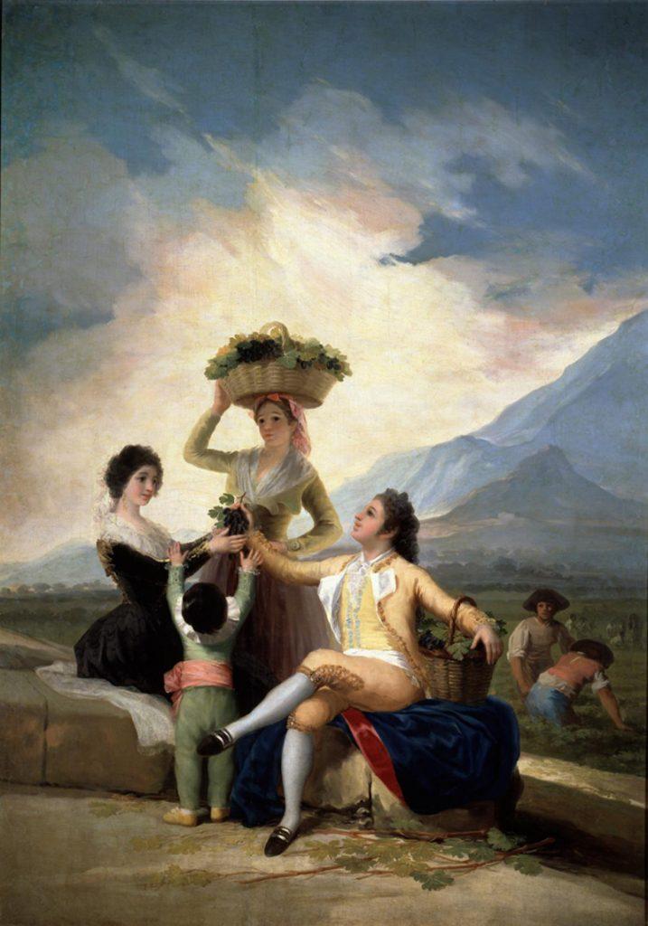 """El vino en la pintura con el cuadro de  Francisco de Goya """"La vendimia"""" es otra de sus mejores obras referidas a este tema."""