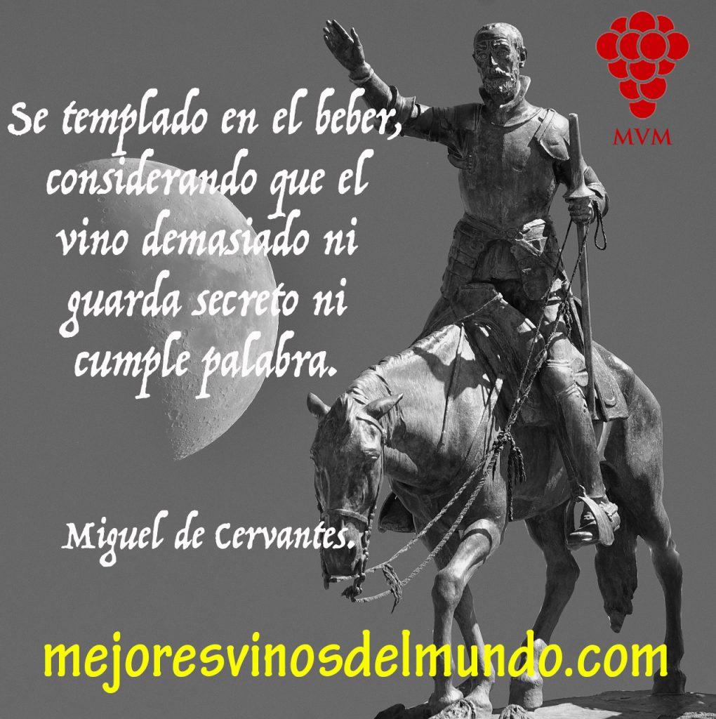 El vino en la literatura como en el Quijote de Cervantes, toma especial protagonismo. En la imagen el Quijote nos recuerda la moderación en su consumo.