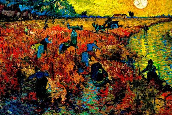 El viñedo rojo de Arles es el nombre de la obra de Vicent Van Gogh. En él se muestra la vendimia que sucede cuando la vid se torna rojiza.