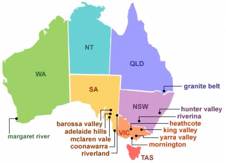 Mapa de los estados de Australia y los tipos de uva que se cultivan