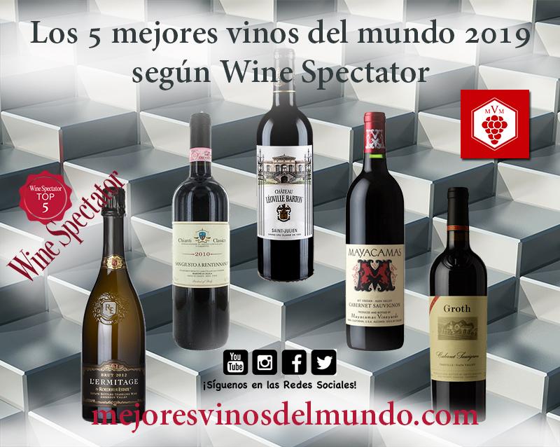 Los 5 mejores vinos del mundo 2019 por Wine Spectator en los que destacan los vinos californianos ya que 3 de los 5 son de allí.
