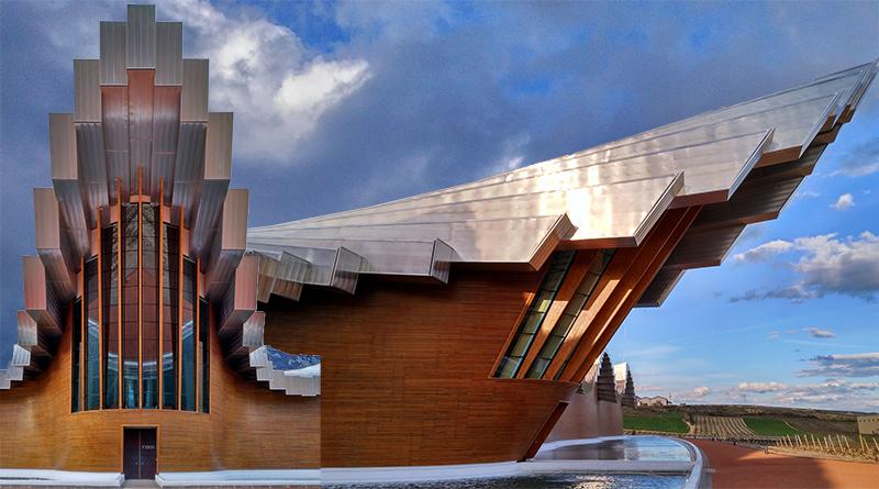 Los Pilares del vino como los edificios de las Bodegas donde se convierte el mosto en vino. Espectaculares edificios de unión entre lo terrenal y lo divino del Vino en sí.