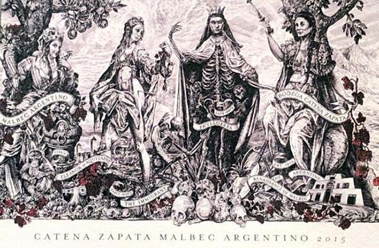 Beber, Honrar y Trascender en etiquetas de vinos como Origen, muerte y renacimiento del malbec en la etiqueta de Catena Zapata.