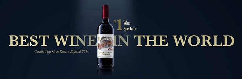 Castillo de Ygay Gran Reserva Especial 2010 de Bodegas Marqués de Murrieta ha sido catalogado como mejor vino del mundo por la prestigiosa revista del Vino Wine Spectator. Año tras año este sorprendente vino se situa a la cabeza de los mejores vinos del mundo.